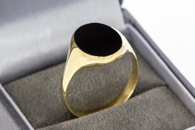 14 Karaat geel gouden zegelring/ Pinkring gezet met Onyx
