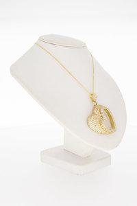 14 Karaat gouden kettinghanger hart gezet met Zirkonia
