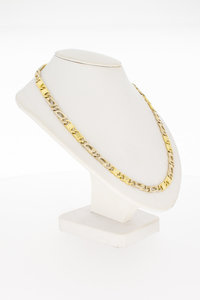 18 Karaat bicolor gouden Valkoog schakelketting - 59,8 cm