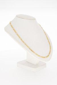 14 Karaat tricolor gouden Figaro schakelketting - 46,1 cm