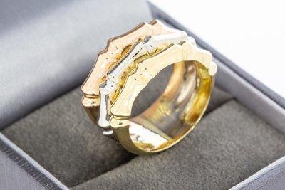 Super 14 Karaat tricolor gouden brede Bandring QI-73