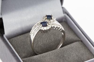 18 Karaat gouden Ring gezet met Saffier en Diamant-0.59 crt