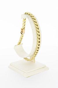 14 Karaat gouden gewalste Gourmet schakelarmband-22,7 cm