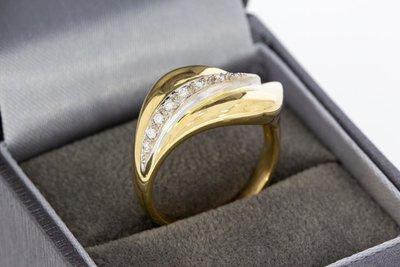 18 Karaat bicolor gouden Ring gezet met Diamant - 0.08 crt
