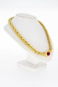 18 Karaat gouden Collier met Robijn en Diamant - 44 cm