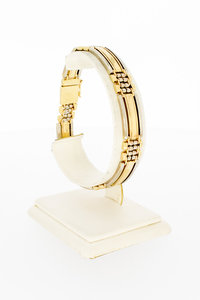 14 Karaat bicolor gouden Staafjes schakelarmband - 20 cm