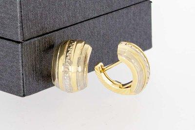 14 Karaat bicolor gouden gefigureerde Bol clip - Creolen