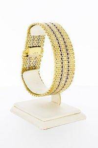 14 Karaat bicolor gouden gevlochten schakelarmband-18,8 cm