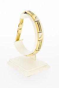 14 Karaat bicolor gouden balkjes schakelarmband - 21 cm