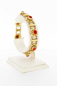 14 Karaat geel gouden armband met Bloedkoraal - 19,5 cm