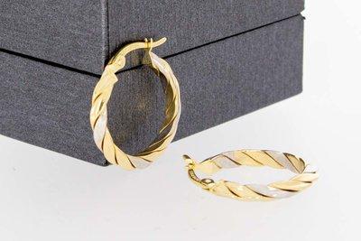 14 Karaat gouden geprofileerde Creolen- diameter 20 mm