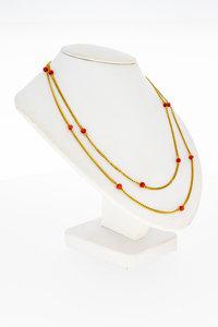 14 Karaat gouden Gourmet ketting met bloedkoraal-84 cm