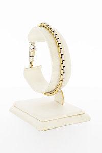 14 Karaat bicolor gouden Fantasie schakelarmband- 19,6 cm