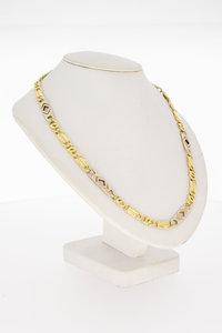 14 Karaat bicolor gouden Valkoog Koningsketting - 53 cm