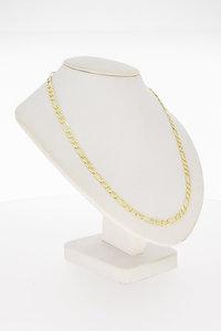 14 Karaat geel gouden Figaro schakel Collier - 46 cm