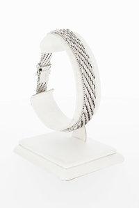 14 Karaat witgouden gevlochten schakelarmband - 19,3 cm