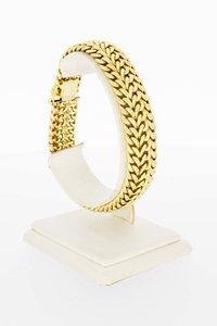 18 Karaat geel gouden gevlochten schakelarmband-21,2 cm