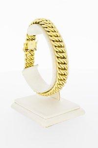 18 Karaat geel gouden gevlochten schakelarmband - 21 cm