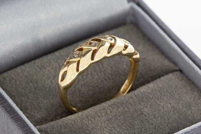 14 Karaat bicolor gouden Fantasie ring gezet met Zirkonia