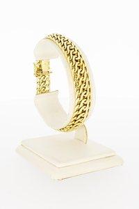 14 Karaat geel gouden gevlochten schakelarmband - 18,9 cm