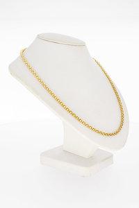 14 Karaat geel gouden Popcorn schakel Collier - 46,5 cm