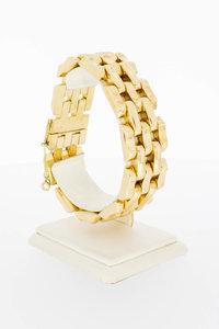 18 Karaat gouden brede Tank schakelarmband - 20,5 cm