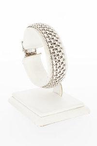 18 Karaat witgouden gevlochten schakelarmband - 16,8 cm