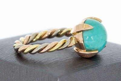 14 Karaat tricolor gouden Markies ring met Turquoise-17,9