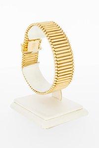 18 Karaat gouden brede Spijltjes schakelarmband - 19,1 cm