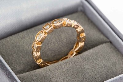 14 Karaat gouden Alliance ring met Diamant - 16 mm