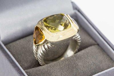 18 Karaat gouden combi Ring met Zilver gezet met Citrien