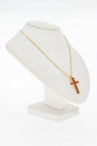 14 Karaat geel gouden kettinghanger Kruis met Bloedkoraal