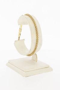 14 Karaat geel gouden Popcorn schakel armband - 19 cm