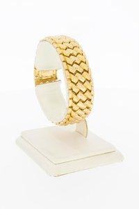 18 Karaat gouden brede ZigZag schakelarmband - 17 cm