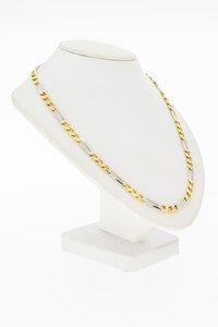18 Karaat geel gouden Figaro schakel collier - 47 cm
