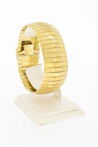 18 Karaat brede gefigureerde schakel armband - 19,5 cm