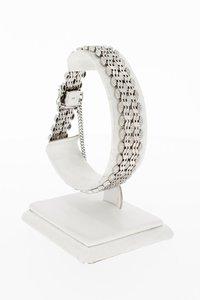 14 Karaat witgouden gevlochten schakelarmband - 20,3 cm