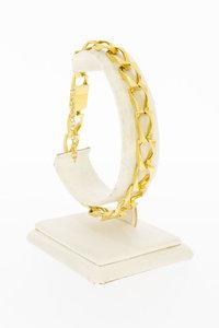 18 Karaat geel gouden Fantasie schakelarmband- 21,3 cm