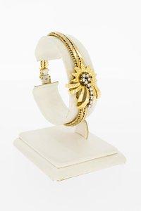 18 karaat geel gouden Komeet schakel armband - 18 cm