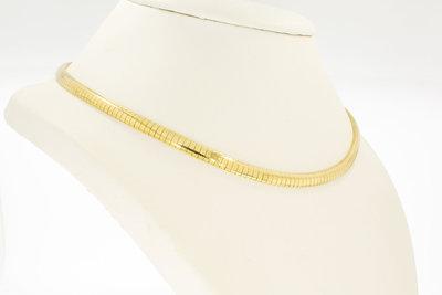 14 Karaat geel gouden Omega schakel Collier - 44,5 cm