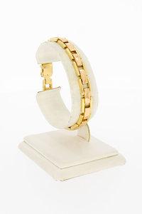 18 Karaat geel gouden Staafjes schakelarmband - 18,3 cm