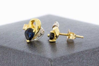 14 Karaat bicolor gouden Oorstekers met Saffier en Diamant