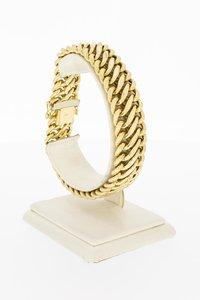 14 Karaat geel gouden gevlochten brede armband - 20,7 cm