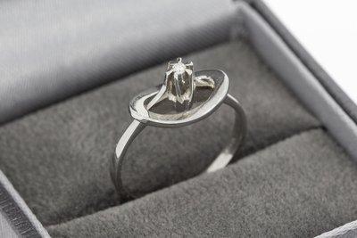 14 Karaat wit gouden ring gezet met Diamant (0.01 crt)