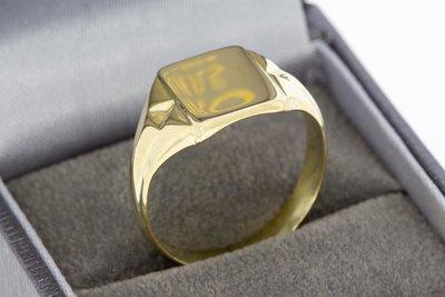 14 Karaat geel gouden Zegelring met spiegelend Zegelbed