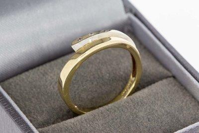 14 Karaat bicolor gouden Slagring met Diamant (0.03 crt)