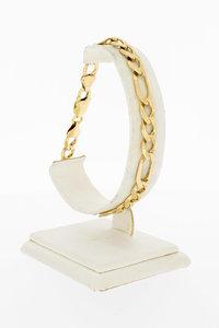 14 Karaat geel gouden Figaro schakelarmband - 21,9 cm