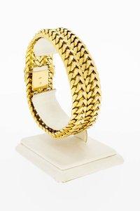 18 Karaat brede gevlochten schakelarmband - 19,7 cm