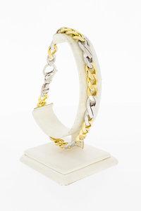 18 Karaat bicolor gouden Gourmet armband - 23,7 cm