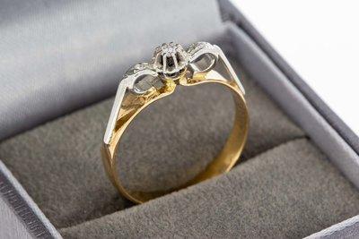 14 Karaat bicolor gouden ring gezet met Diamant (0.06 crt)